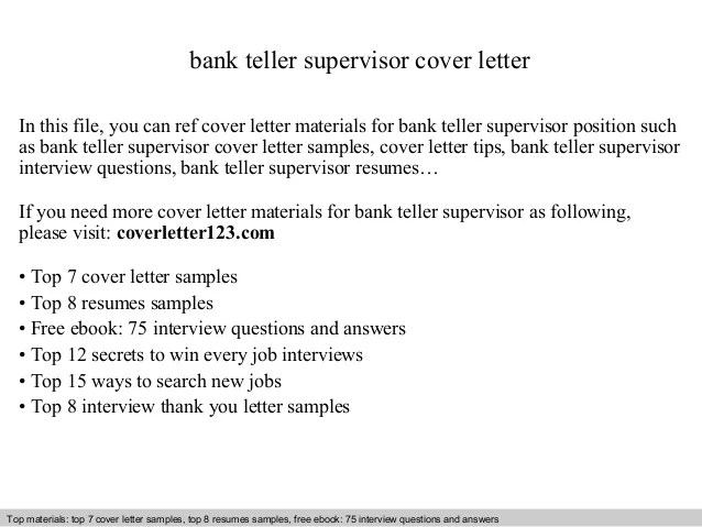Bank teller supervisor cover letter