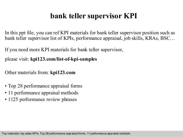 Bank Teller Supervisor Cover Letter - Cover Letter Resume Ideas ...