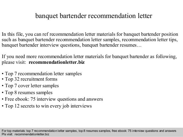 Banquet Bartender Recommendation Letter
