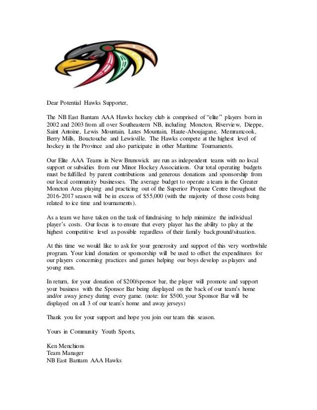 Bantam AAA Jersey Sponsor Letter Moncton