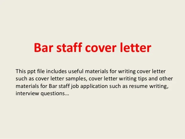 Cover Letter Bar Staff | Fill in the Blank Resume