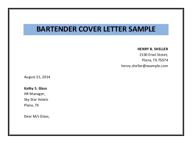 Bartender Cover Letter Sample Pdf