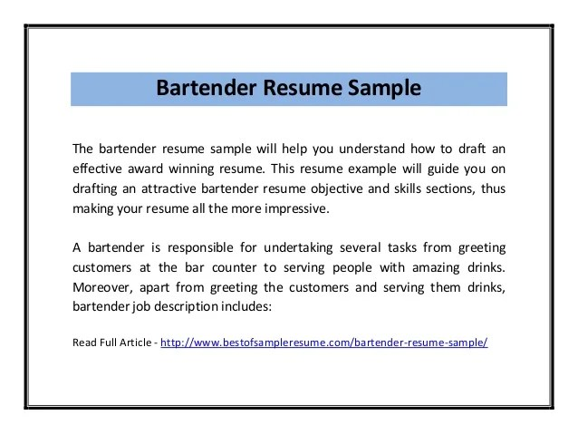 Examples Of Bartending Resumes