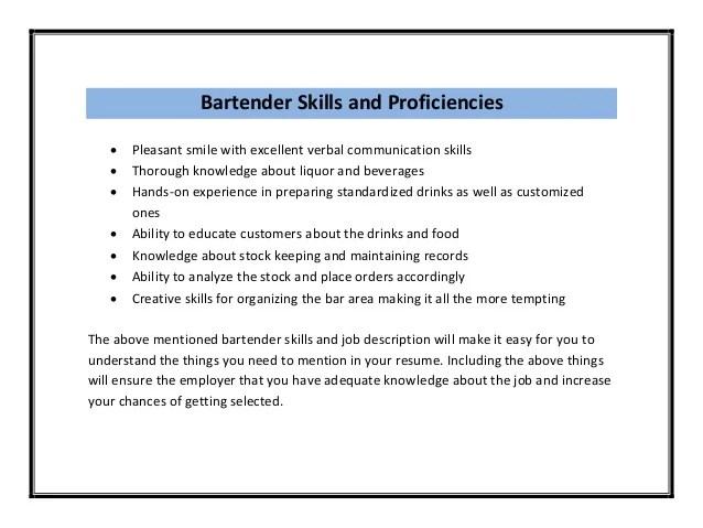bartender resumes examples