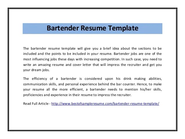 Making A Bartending Resume | Free Resume Templates ...