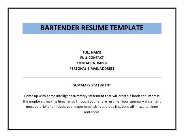 Bartender Resume Cover Letter