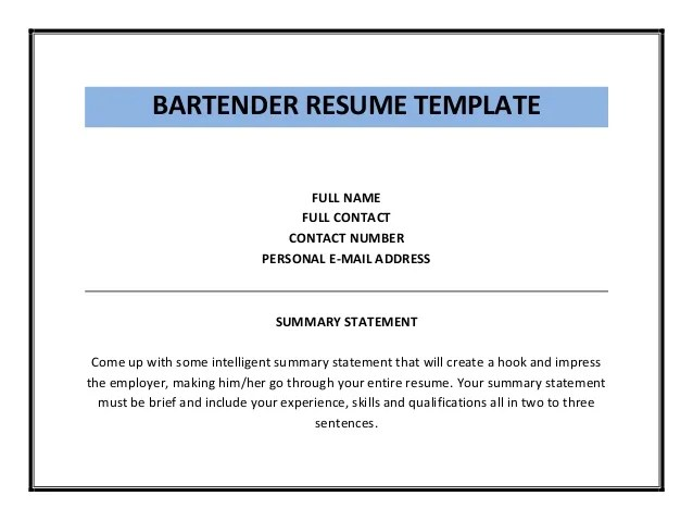 Home Design Ideas. Resumes Sample Bartender Resume Job Description