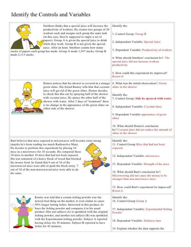 And Answer Exercises Worksheets Independent Variable Dependent