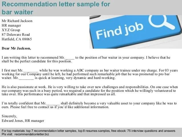 Bar waiter recommendation letter