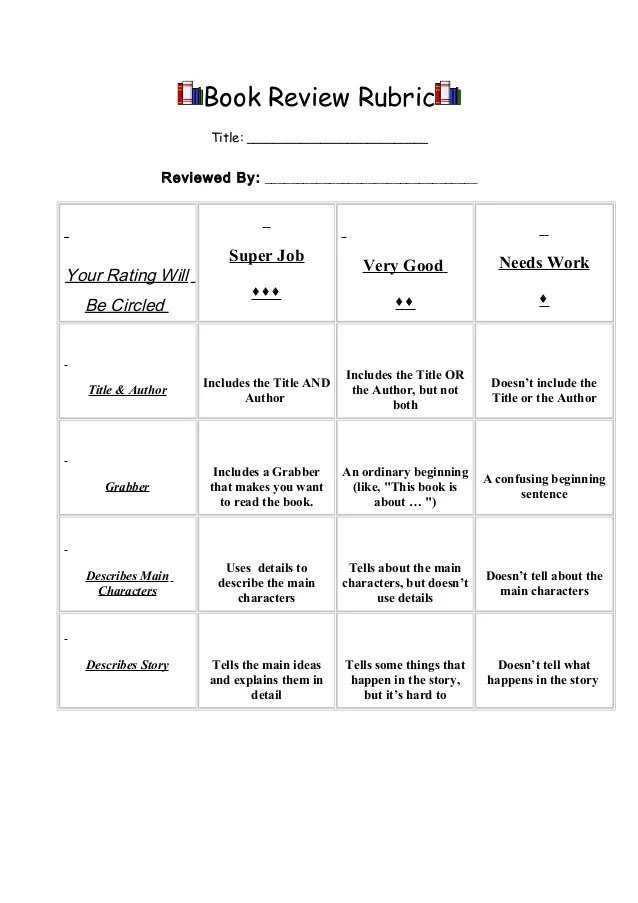Basic Book Review Rubric