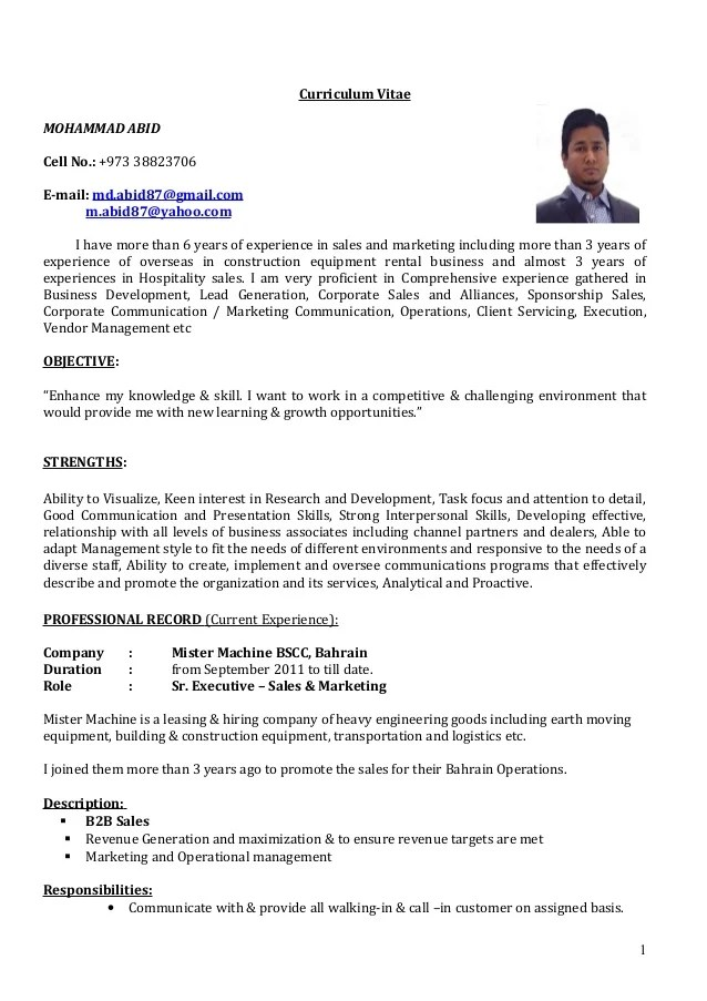 CV Sr Executive Sales & Marketing