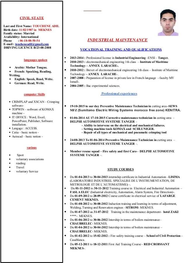 cv qualification anglais