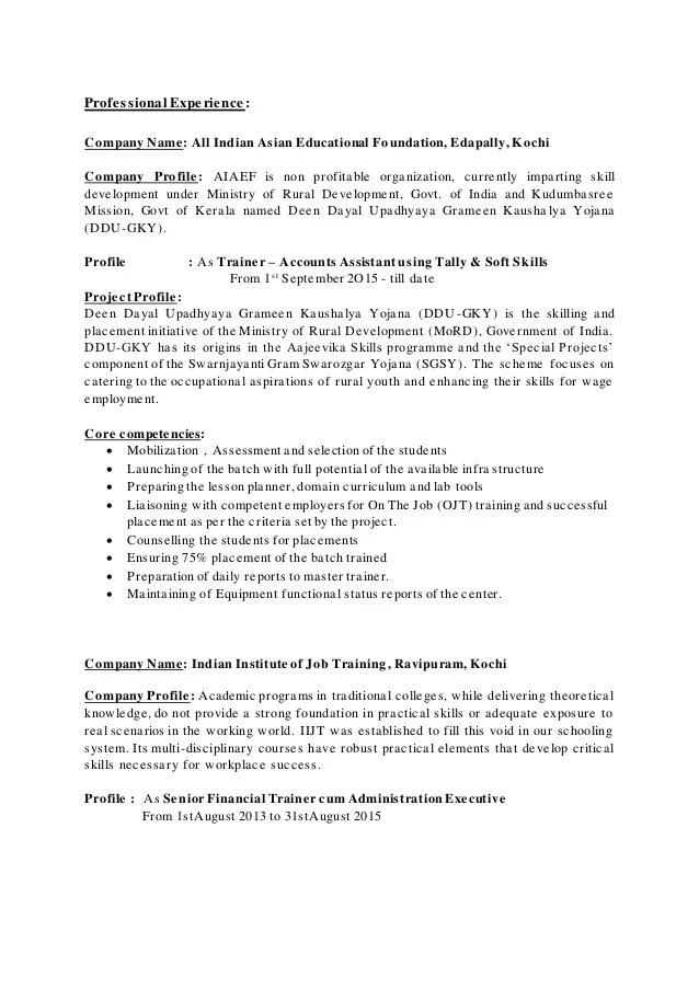 resume profile for government