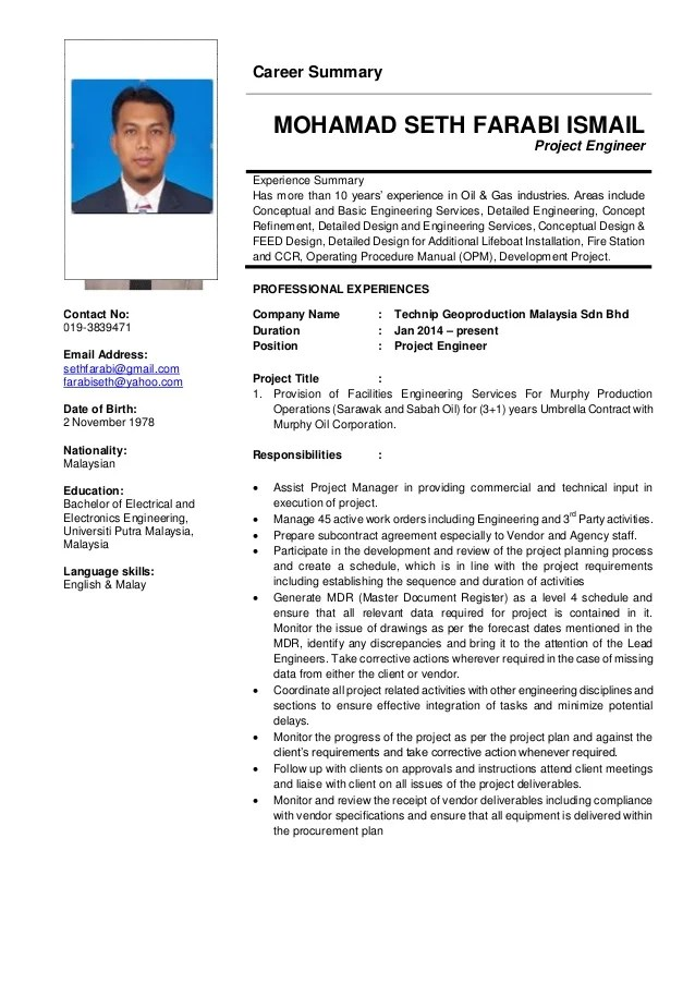 resume 10 years experience