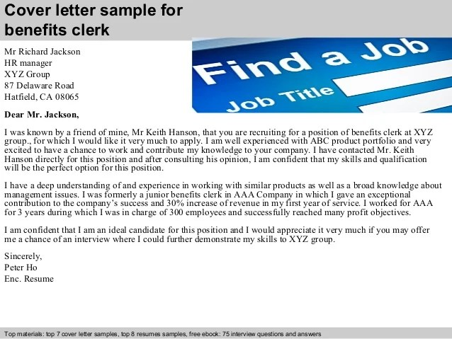 Benefits clerk cover letter
