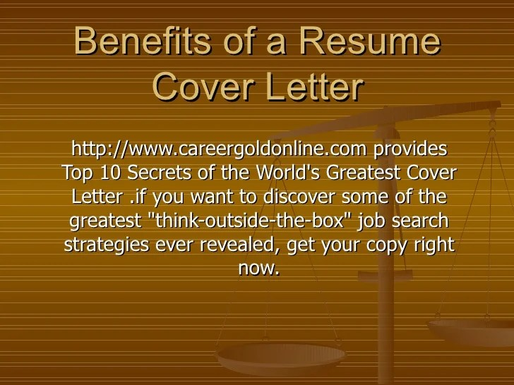 Benefits Of A Resume Cover Letter