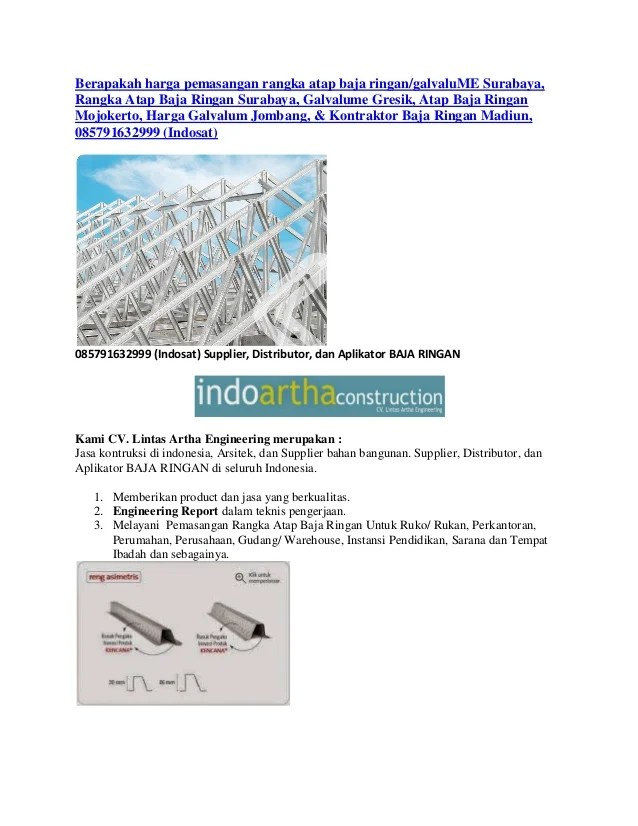 harga rangka baja ringan manado berapakah pemasangan atap galvalume surabaya