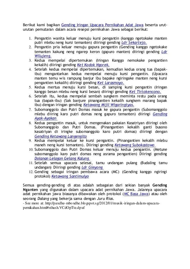 Upacara Adat Jawa Dalam Bahasa Jawa : upacara, dalam, bahasa, Berikut, Bagikan, Gending, Iringan, Upacara, Pernikahan, Bes…