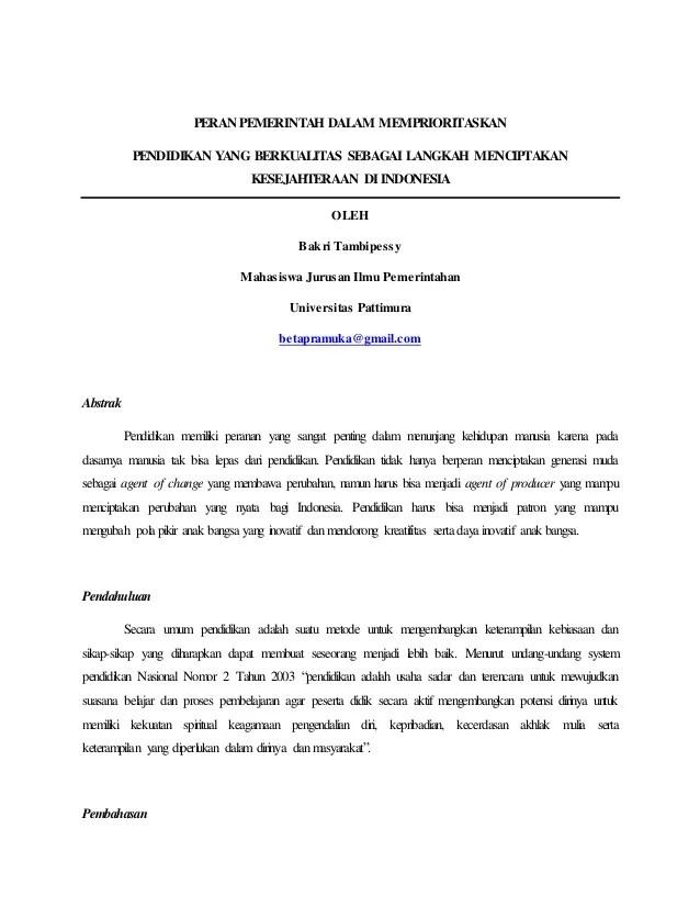 Contoh Essay: Beasiswa, Pendidikan, Ilmiah (Singkat)