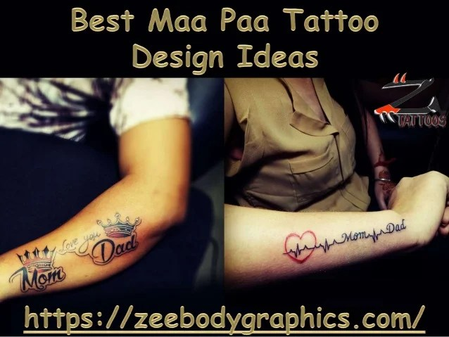 Unique Maa Paa Tattoo Designs On Wrist
