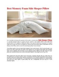 Best memory foam side sleeper pillow