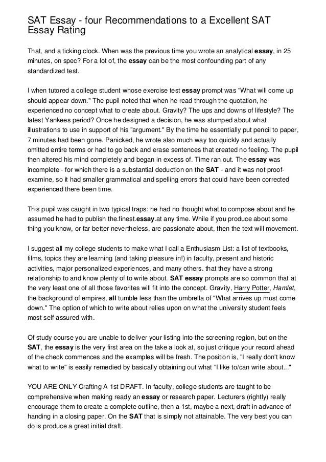 SAT Essay  four Recommendations to a Excellent SAT Essay