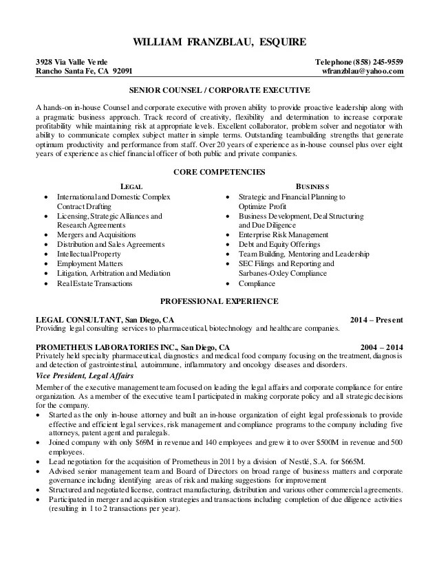 General Counsel Resume Counsel Resume Example General Counsel