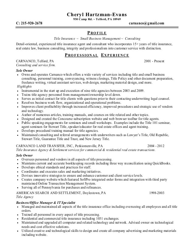 sample resume title insurance