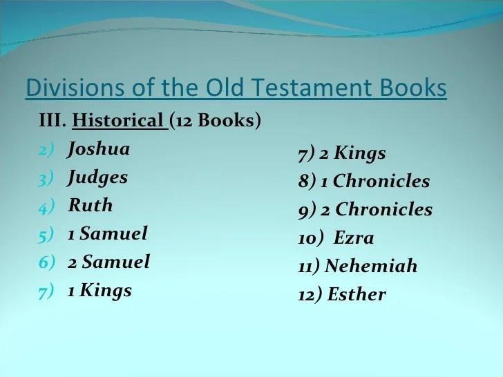 Divisions New Testatment Books