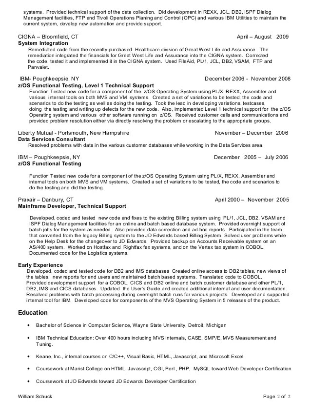 Mainframe Developer Resume Examples - Examples of Resumes