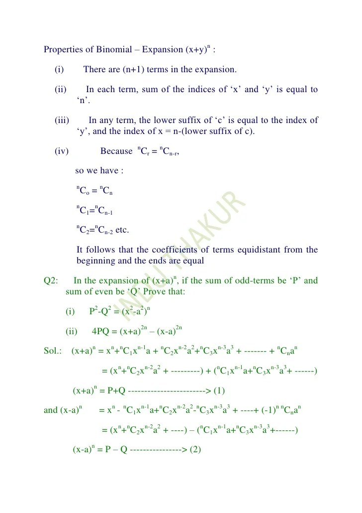 Binomial Expansion Worksheet Photos