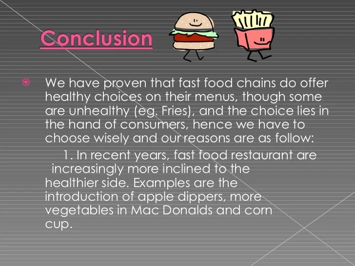 Fast Food Essay Conclusion Fast Food Ppt Planning Research Proposal