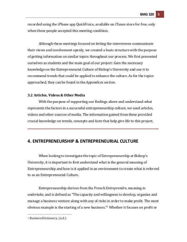 part 3 entrepreneur research paper example