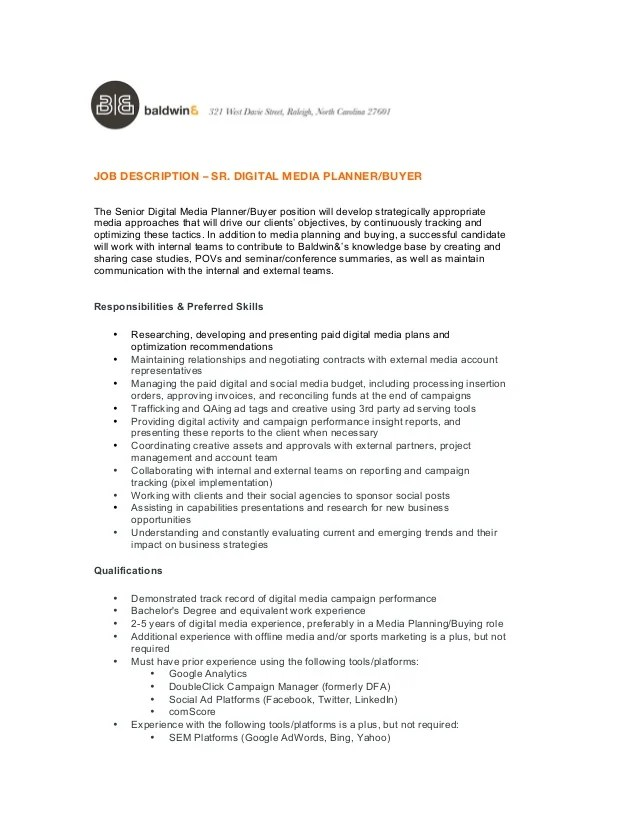 media buyer resume description
