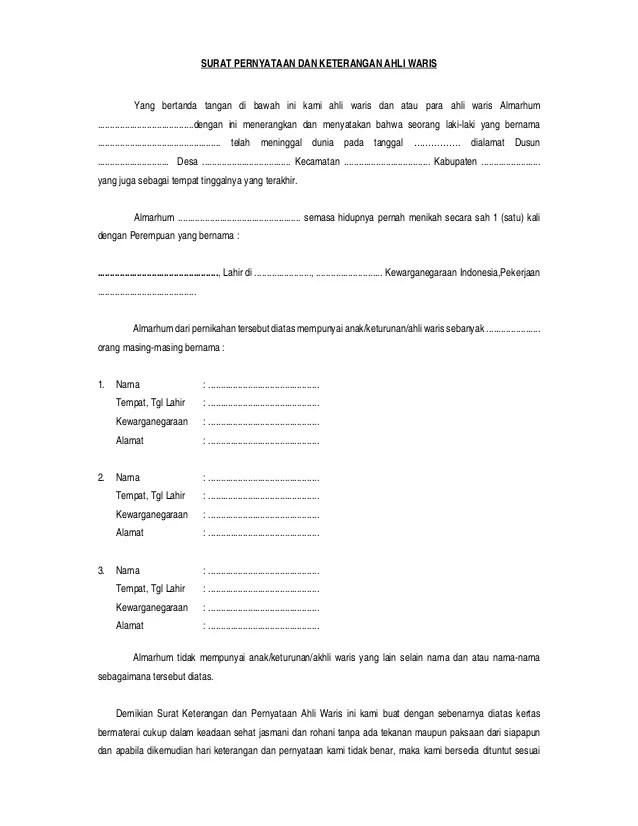 Contoh Surat Wakil Ahli Waris Surat W