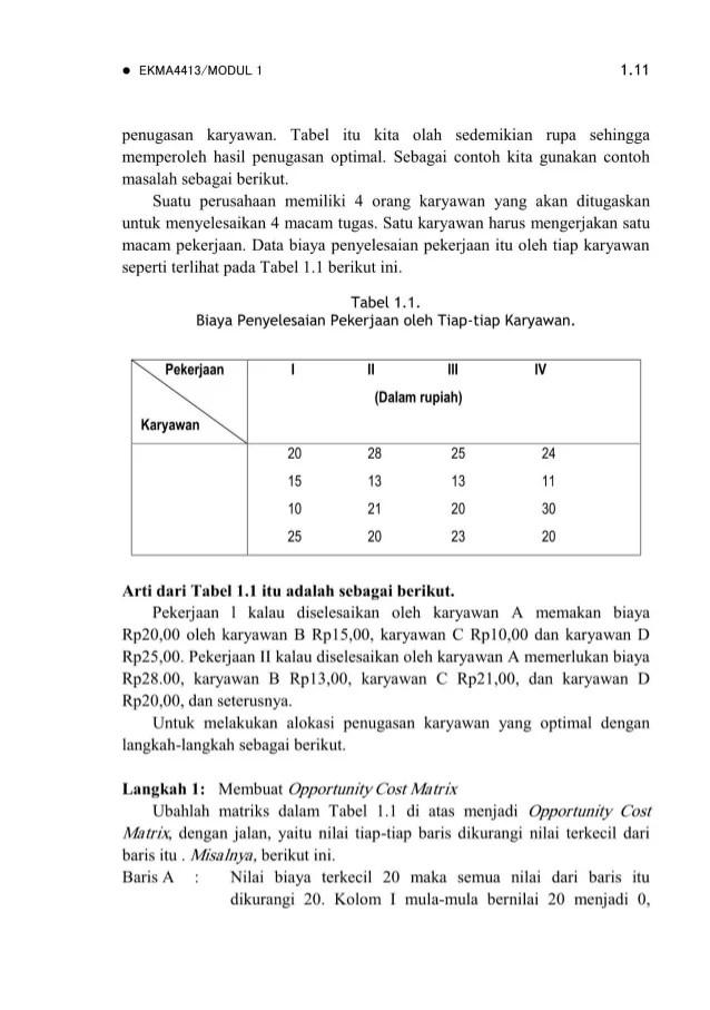 Contoh Soal Dan Jawaban Materi Metode Penugasan Riset Operasi Guru Ilmu Sosial Cute766