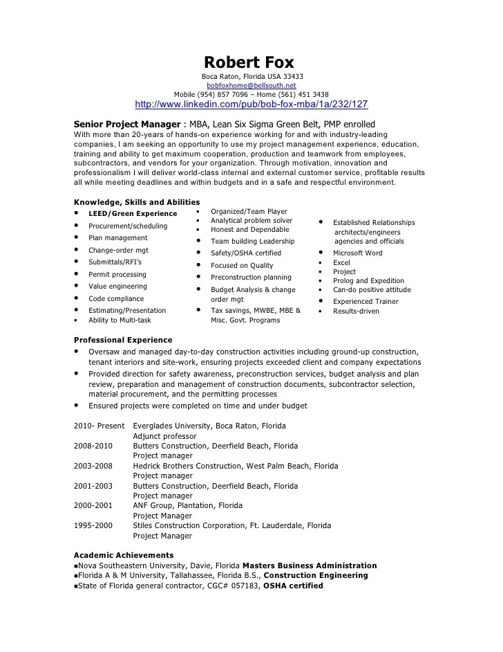 Sample Construction Project Manager Resume. It Project Manager