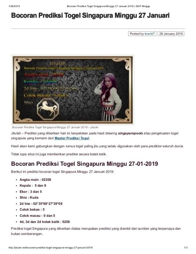 Bocoran Sgp Minggu : bocoran, minggu, Bocoran, Prediksi, Togel, Singapura, Minggu, Januari