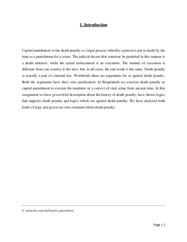 Is The Death Penalty Effective Argumentative Essay Enduring Love