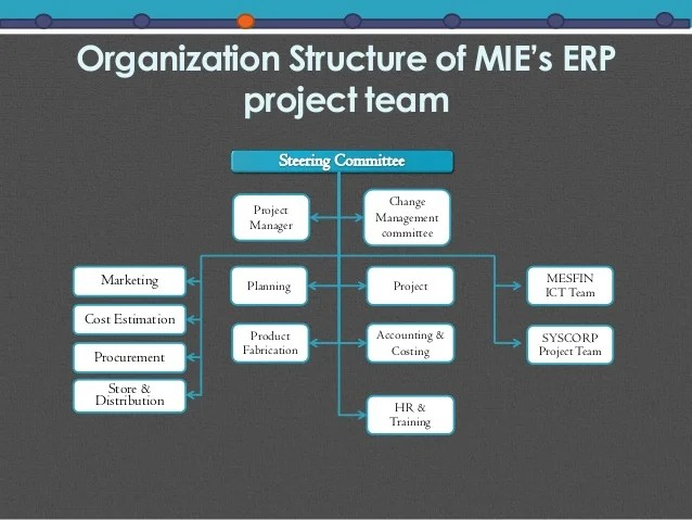 Organization structure of mie   erp project also  successful implementation in an ethiopian company rh slideshare