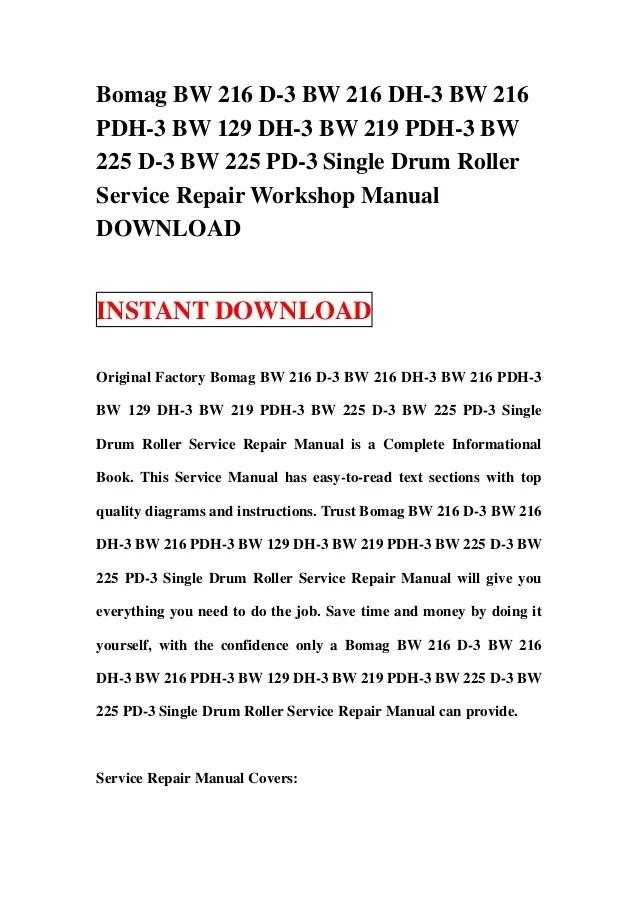 Bomag BW 216 D3 BW 216 DH3 BW 216 PDH3 BW 129 DH3 BW