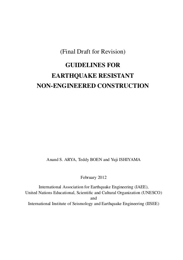 Guidelines for earthquake resistant nonengineered masonry