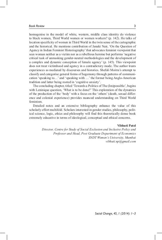 "Prof Vibhuti Patel's Book Review Of ""towards Politics Of"