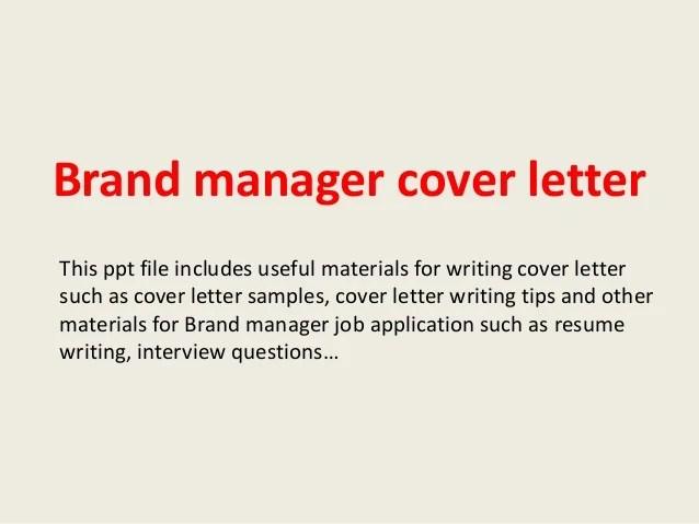Brand manager cover letter
