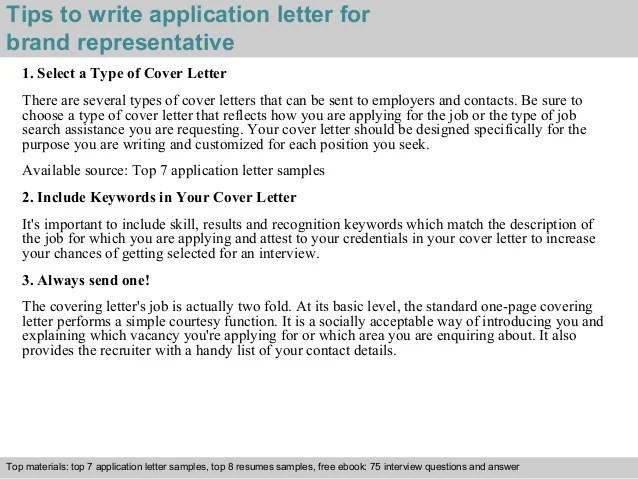 Brand representative application letter