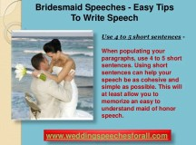 Help with writing a bridesmaid speech