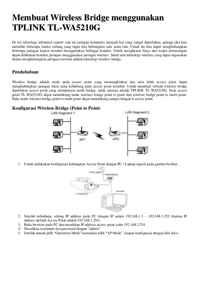 Setting Tp Link 5210 : setting, Bridge, TP-Link, WA5210