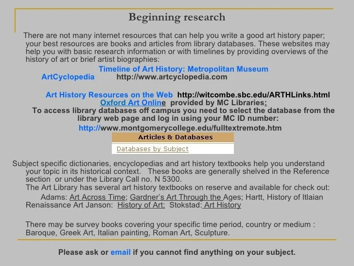 Research Paper Art History Topics Writing Tips Buy Term Paper