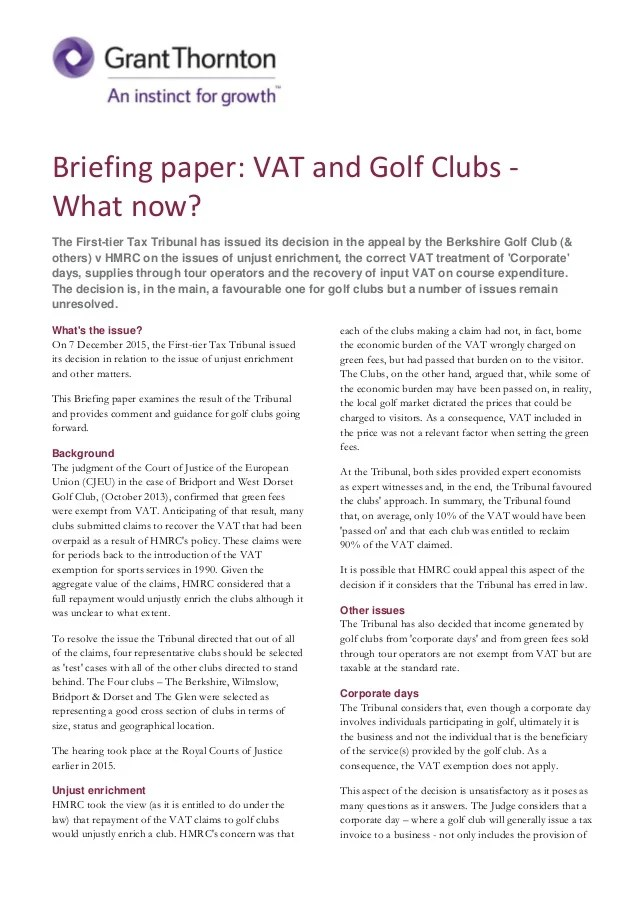 Briefing Paper VAT Golf And Other Sports Clubs What Next