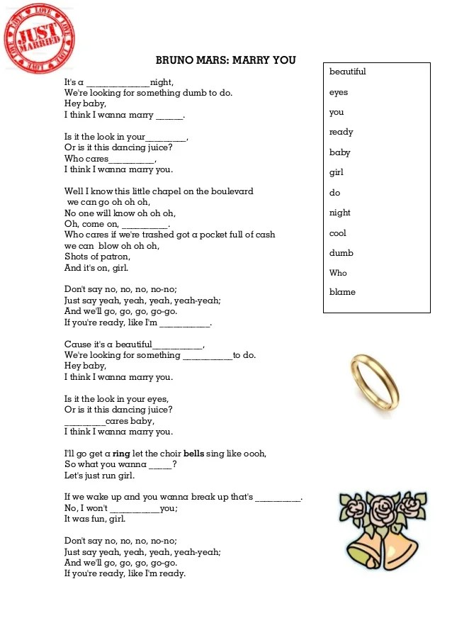 Lirik Lagu Mary You : lirik, Bruno, Marry